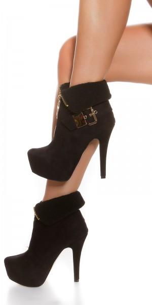 Sexy Ankle High Heels gefüttert mit Schnalle + Zip