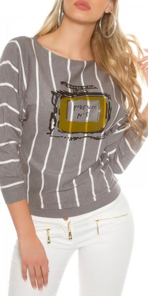Trendy Pullover gestreift mit Print & Nieten