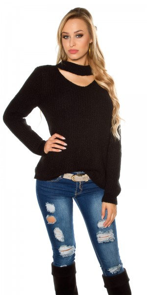 Trendy Oversize Mohair Grobstrick Pulli m. Cut Out