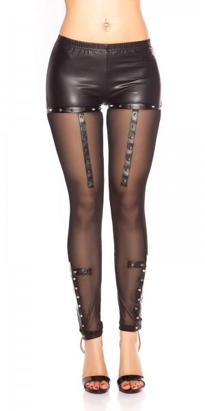 Sexy KouCla Wetlook Leggings mit Mesh & Nieten