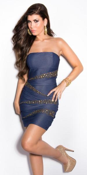 Sexy Bandeau Kleid mit Nieten im Jeans-Look