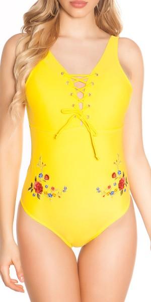 Sexy Swimsuit mit Schnürung und Stickerei