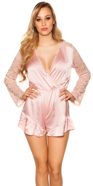 Sexy V-Cut Playsuit in Satinlook