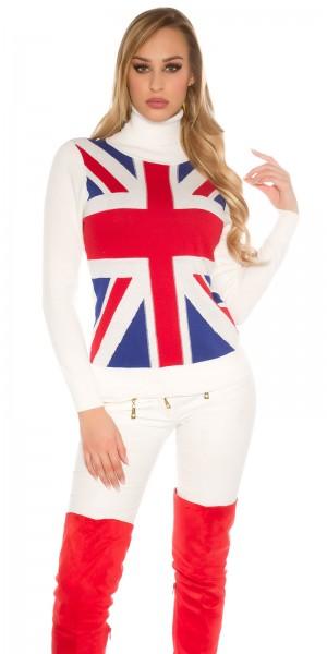 Sexy Rollkragen-Pulli mit UK-Print