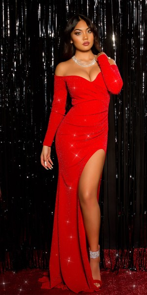 Sexy KouCla Red Carpet Look Glitzer Abendkleid