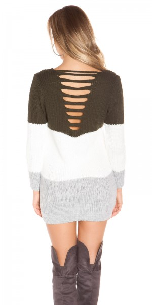 Sexy KouCla Grobstrick Oversize Pulli m. Cut Outs