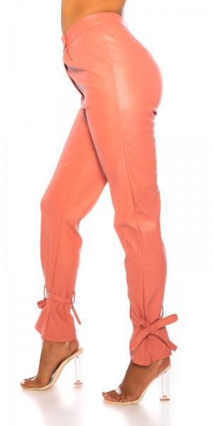 Trendy Highwaist Hose im Leder- Look