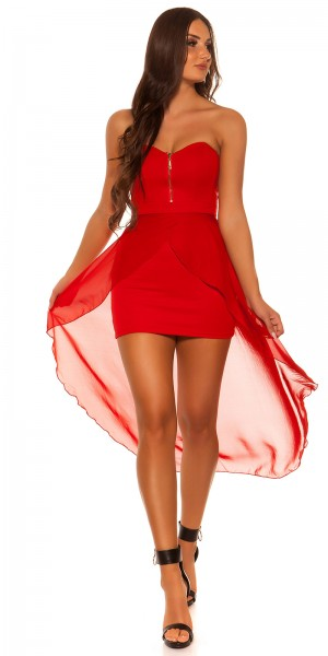 Sexy KouCla high-low-Kleid mit Zip
