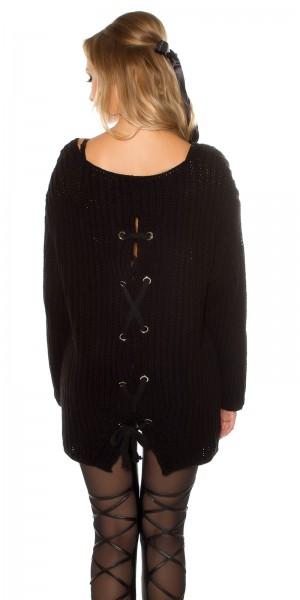 Trendy XXL-Grobstrickpulli mit Rückenschnürung