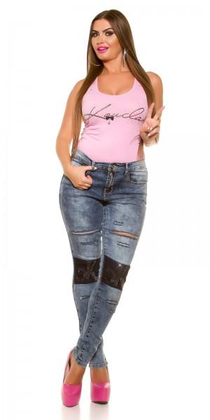 Curvy Girls! KouCla Jeans Used Look Strass & Risse