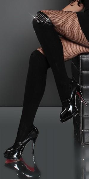 Sexy Overknee Strümpfe mit Strass-Print