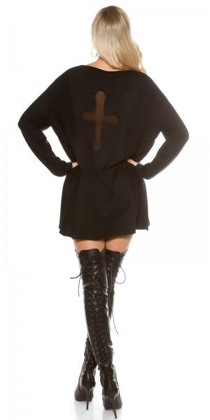 Trendy KouCla Oversize Pulli mit Mesh Kreuz