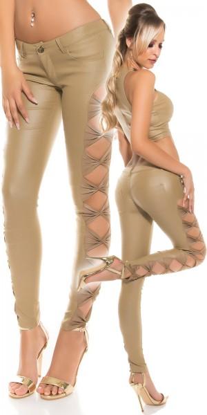 Sexy KouCla Lederlook Hose mit seitl. Schleifen