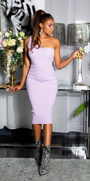 Sexy Feinstrick One Shoulder Midi Kleid