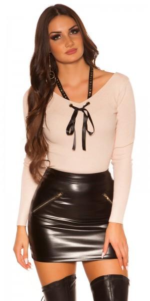 Trendy KouCla V-Cut Pullover mikt Sternenbändchen