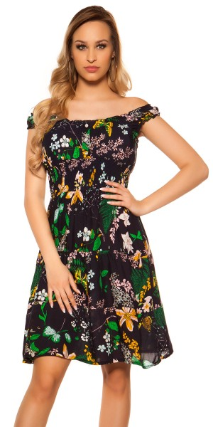 Trendy Off Shoulder Kleid Blumenmuster