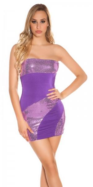 Sexy Bandeau Mini-Kleid mit Pailletten