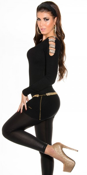 Sexy KouCla V-Cut Longpulli mit Strass an Schulter