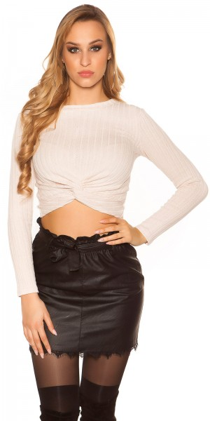Sexy langarm Crop Shirt mit Knoten Optik