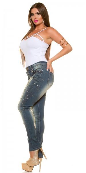 Curvy Girls! KouCla Jeans mit Rissen und Strass